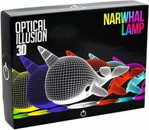 Narwhal Lampe de bureau LED avec contrôle tactile, 7 options de changement de couleur, alimentation USB, bureau, veilleuse pour enfants, amis et famille Cadeau idéal