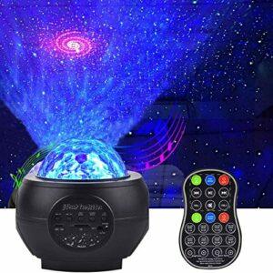 Projecteur Étoile LED, Lampe de Veilleuse Étoilée & Projecteur de Vagues Océaniques, Commande à Distance Haut-parleur Bluetooth pour Enfants Adultes Cadeaux Maison Soirée Décoration