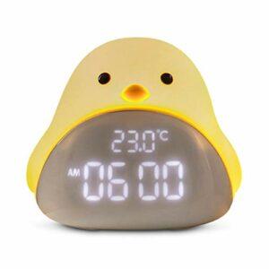Réveil Dessin animé Mignon Time Night Lumière Réveil Silicone Touch USB Lampe de nuit LED pour enfants Bébé Kids Cadeau Lampe de chevet (Color : Beige)