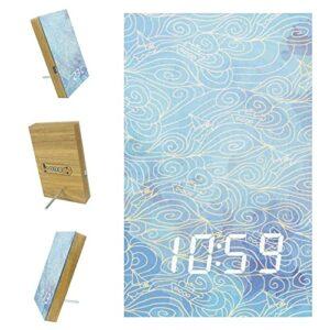 Réveil numérique à LED, lumière tamisée, réveil de bureau pour chambre à coucher, décoration nautique, vagues de mer, bleu