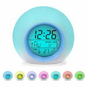 Réveil numérique pour enfant avec lumière LED multicolore, 7 couleurs changeantes, réveil lumineux et lampe de chevet pour garçons et filles, température/date, cadeau d'anniversaire pour enfants