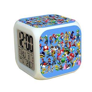 Réveil Super Mary Date de température du réveil numérique à changement de couleur Super Mario