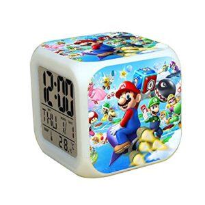 Réveil Super Mary Montre-réveil numérique Super Mario Time Date pour enfants