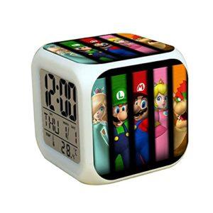 Réveil Super Mary Super Mario Bros 3 pouces Mini LED réveil numérique changement de couleur lumière enfants chambre décor
