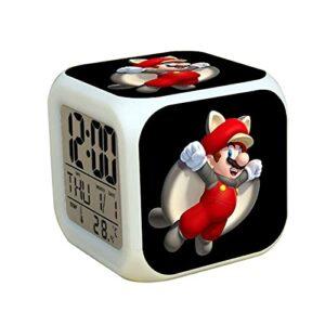 Réveil Super Mary Super Mario Luigi Bros Chambre LED Réveil Numérique Changement De Couleur Lumière Enfants