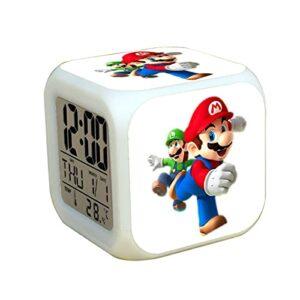 Réveil Super Mary Super Mario Luigi LED Réveil Changement De Couleur Lumière Enfants Chambre Décor