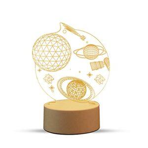 Sooair Lampe de Table Illusion 3D, 16 Couleurs Tactile Lampe de 3D Changeantes Veilleuse Lampe de Chevet pour Enfants Amis Famille Anniversaire Cadeau Chambre de Décoration 3D Veilleuse pour Garçons