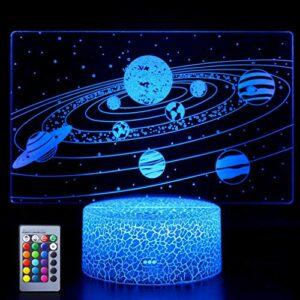Système solaire Veilleuse 3D Universe Space Galaxy Lampe Illusion Cadeaux idéaux pour les enfants garçons et filles comme les anniversaires ou les vacances de Noël (système solaire)