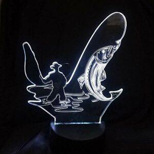 Veilleuse 3D à LED pour la pêche à la tombée de la nuit avec 7 couleurs de lumière pour la décoration de la maison – Illusion d'optique – Cadeau d'anniversaire pour les enfants.