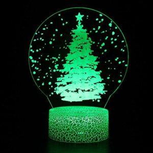 Veilleuse 3D en forme de sapin de Noël – Lumière magique à LED – Télécommande – Illusion changeante de couleur – Cadeau créatif pour les enfants