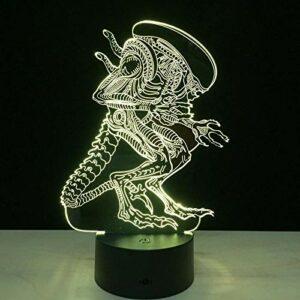 Veilleuse 3D LED RVB à changement de couleur – Alien Queen – Acrylique – USB – Décoration créative – Jouet d'anniversaire pour les enfants