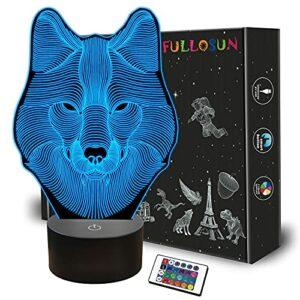 Veilleuse 3D loup, lampe à illusion d'optique pour la décoration intérieure, télécommande avec 16 cadeaux changeants de couleur pour enfants, hommes …
