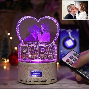 Veilleuse en cristal 3D personnalisé, lampe à LED en cristal laser en forme de coeur Image personnalisée et texte Lecteur de musique Bluetooth Cadeau créatif pour amoureux maman papa