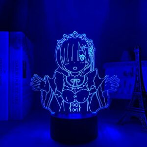 Veilleuse LED 3D Anime – Re Zero Start – Vie dans un autre monde – Veilleuse pour chambre à coucher – Décoration d'anniversaire – Re Zero Rem Touch Contrôle