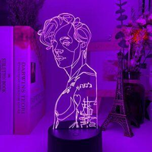 Veilleuses LED,D Usb Veilleuse Harry Styles Lampe Cadeau,Ventilateurs Chambre DéCor LumièRe Led Capteur Tactile Couleur Changeante Lampe De Bureau De Travail