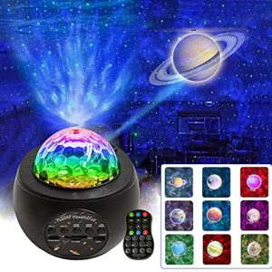 Wiestoung Projecteur Ciel Etoile, Projecteur de Planète avec Haut-Parleur Bluetooth et Télécommande, 360° Rotatif Projecteur Ciel Etoile Galaxie, LED Veilleuse pour Enfant Adulte Decoration Romantique