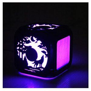 XY-M Dark Night Forest Moon Wolf Hurlant Créatif 3D Stéréo LED Petit Réveil Chambre LED Veilleuse Horloge Électronique De Chevet Horloge-USB Chargement