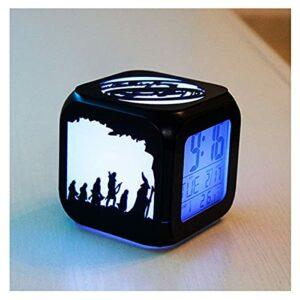 XY-M Ring Magic Ring King Fashion Creative 3D Three-Dimensionnel Petit Réveil LED Night Light Horloge Electronic Horloge Chambre À Coucher Student-Ousb Charge