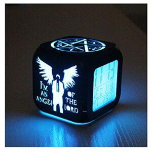 XY-M Supernatural Ange Mode Créatif 3D Stéréo Petit Réveil Muet LED Veilleuse Horloge Électronique Horloge De Chevet-USB Chargement