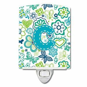 Caroline's Treasures Lettre C Fleurs et Papillons Bleu Sarcelle Veilleuse en céramique 6 x 4 Multicolore
