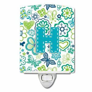 Caroline's Treasures Lettre H Fleurs et Papillons Bleu Sarcelle Veilleuse en céramique 6 x 4 Multicolore