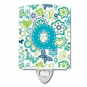Caroline's Treasures Lettre Q Fleurs et Papillons Bleu Sarcelle Veilleuse Céramique 6 x 4 Multicolore
