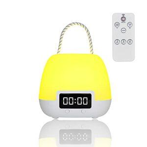 Lampe de Chevet,Veilleuse LED,Veilleuse pour Enfants Télécommande avec Couleurs Changeantes,Lampe de Table Rechargeable avec Affichage de L'horloge,Convient à la Salle de Bébé,Chambre, Salon