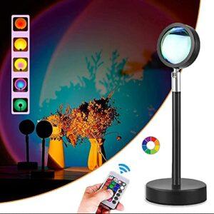 Lampe de soleil 10W pour chambre à coucher Salon, 16 couleurs RVB USB Chargement de projecteur romantique lumière de nuit avec télécommande, lampe de bureau moderne pour la photographie de mariage de
