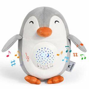 Machine à Bruit Blanc Pingouin Momcozy, Projecteur Veilleuse Rechargeable, Aider Bébé à s'Endormir, Jouet Musical avec 15 Sons Apaisants, Veilleuse pour Bébé avec Détecteur de Pleurs