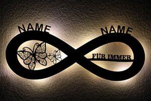 Pour toujours – Amitié – Amour – Signe infini avec papillons – Décoration LED avec nom souhaité – Veilleuse pour chambre à coucher – Cadeau