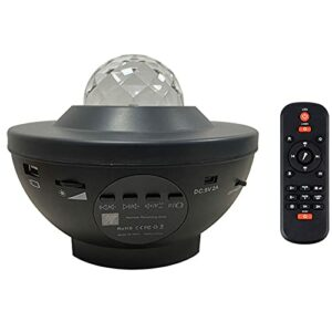vowit LED Projecteur Ciel etoil, Veilleuse à Vagues Océaniques Rotatives, Lecteur de Musique à Couleurs Changeantes avec Bluetooth, Minuteur et Télécommande, pour Enfants Adultes