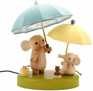 WULOVEMI Lampe de chevet LED en bois – Petite veilleuse – Décoration pour enfants – Motif éléphant
