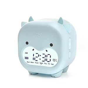 Charging USB petit réveil lampe de chevet, cadeau de lumière de réveil pour enfants et adultes Light blue