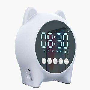 Gazaar Réveil numérique, réveil silencieux, veilleuse créative, réveil pour chambre à coucher, lampe LED intelligente, musique Bluetooth, lampe de table sans fil pour enfants