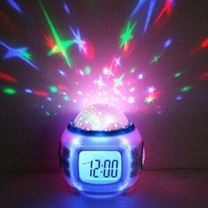Réveil LED Réveil Numérique Snooze Starry Star Réveil Lumineux pour Enfants Chambre Calendrier Thermomètre Veilleuse Projecteur