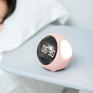 Réveil Mignon Expression Réveil Multifonctionnel Chevet Commande Vocale Veilleuse Snooze Rechargeable Enfant Réveil