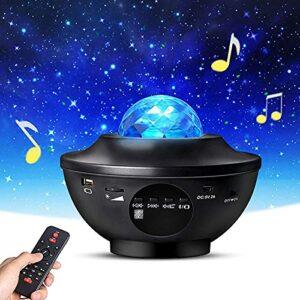 vowit LED Projecteur Ciel etoil Veilleuse, Lampe Rotative à Changement de Couleur pour Projecteur Ocean Wave, avec Télécommande, Bluetooth, USB, Haut-Parleur de Musique, pour Adultes Enfants