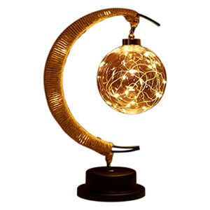 Petite Veilleuse, LumièRe de la Lune Suspendue Galaxie LED Veilleuse Magique de la Lune, DéCoration de Cadeau D'Anniversaire de LumièRe de Lune Pour Enfants (Jaune Chaud)