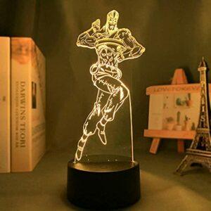 Beau cadeau pour vos amis, veilleuse 3D LED JoJo Bizarre Adventure Figure Light pour enfants Cadeau d'anniversaire/de Noël Jean Pierre Polnareff Lampe de chevet