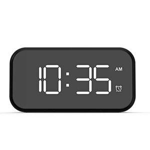 Gxing Réveil moderne à LED – Réveil numérique – Chargement USB – Alimentation par batterie – Pour chambre à coucher, bureau