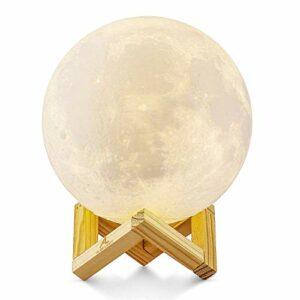 Lampe Lune 3D, ALED LIGHT Veilleuse LED Lampe Luna Tactile 3 Couleurs, 15cm/5,9inch Diamètre, USB Rechargeable Veilleuse Lune pour Chambre Salon Café Cadeau Anniversaire Noël