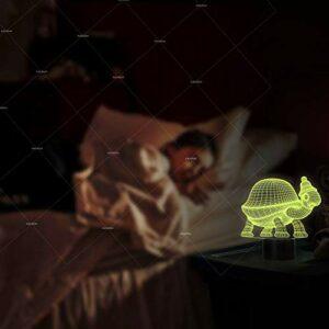petite tortue Veilleuse 3D pour Enfants, Cadeaux pour Femme, Lampe 3D Illusion avec 7 Couleurs et Télécommande, Cadeau Garçon, Cadeau fille, Chambre Décor