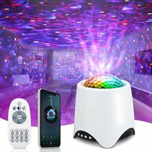 Projecteur Ciel Etoile, Veilleuse Enfant Projecteur Galaxie avec Haut-Parleur Bluetooth Lampe Projecteur LED Decoration Chambre Projecteur Étoile Rotatif Télécommande BéBé Cadeau – Blanc