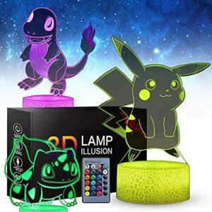 Veilleuse 3d Pikachu Anime pour enfants, 3 modèles Pikachu Toy 16 changeur de couleurs avec télécommande, cadeaux d'anniversaire pour les enfants et les fans de Pikachu