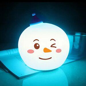Veilleuse en Silicone, Veilleuse LED Portable Lampe Bonhomme de Neige en Silicone avec Mode de Respiration Blanc Chaud et 7 Couleurs Lampe Tactile pour Chambres pour Adultes et Bébés