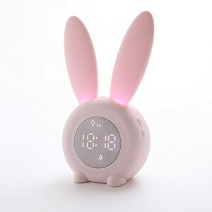 DKEE Réveil de chronométrage de Lapin Mignon de Lapin Creative LED Cadeau électronique Son et contrôle de lumière Night Light Température Afficher Enfants Réveil Lumières de la Nuit (Color : Pink)