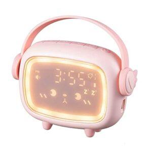 GDEVNSL Réveil pour Enfants, réveil numérique à LED, réveil léger pour Enfants avec veilleuse, 2 alarmes/Snooze/Commande vocale, réveil créatif pour Lampe de Chevet pour Chambre de Fille et garçon