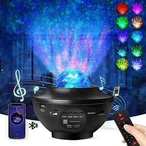 Jialisita Projecteur LED étoilé, veilleuse et lampe rotative de projection musicale avec haut-parleur Bluetooth à distance pour chambre de bébé et enfants