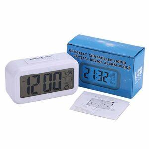 JNRIUNJ Réveil Batterie numérique réveil Grand écran LCD Capteur de lumière Veilleuse Multifonction Snooze Enfants Table Bureau Pratique (Color : White)
