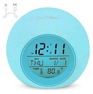 l b s Réveil pour enfants avec batterie rechargeable 7 couleurs changeantes Veilleuse Snooze Contrôle tactile Température pour chambre d'enfant